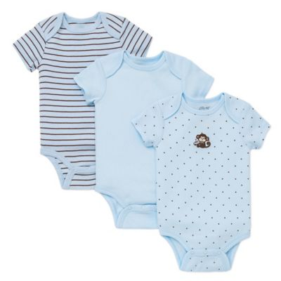 Little Me® Newborn 3-Pack Monkey Star Bodysuits in Blue
