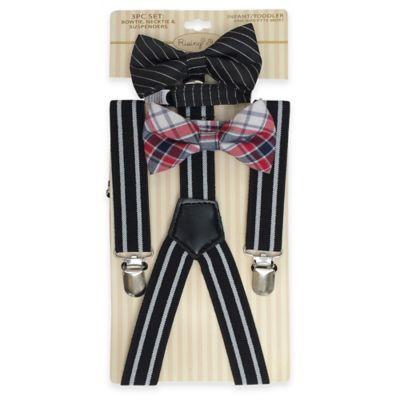 Black Suspender and Bowtie Set