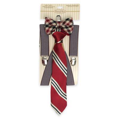Rising Star Infant/Toddler 3-Piece Bowtie, Tie and Suspender Set in Brown
