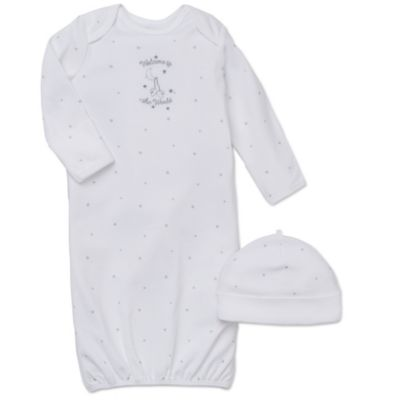 """Little Me® 2-Piece """"Welcome to the World"""" Long-Sleeve Gown and Hat Set in White"""