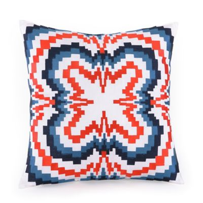 Trina Turk® Indigo Ikat Multi-Stripe Zig Zag Square Throw Pillow