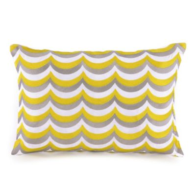 Trina Turk® Giraffe Wavy Scallop Oblong Throw Pillow in Grey