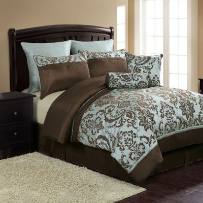 Daniela 8-Piece King Comforter Set in Blue/Brown
