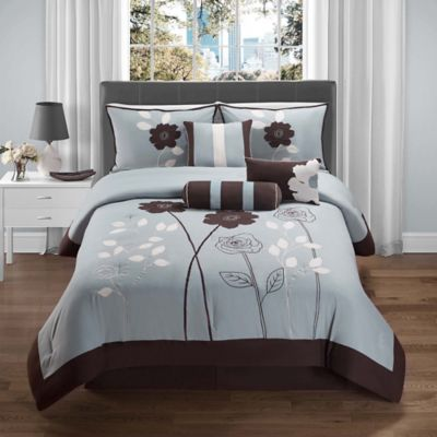 Adrienne 7-Piece Queen Comforter Set in Blue/Brown