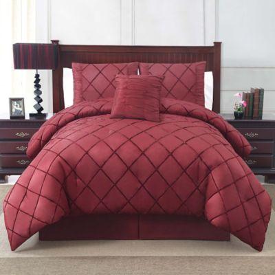 Santiago 4-Piece Queen Comforter Set in Burgundy