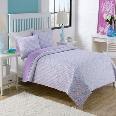 Dena Twin Quilt Set in Purple