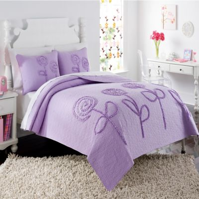 Rachel Full/Queen Quilt Set in Pink/Lavender