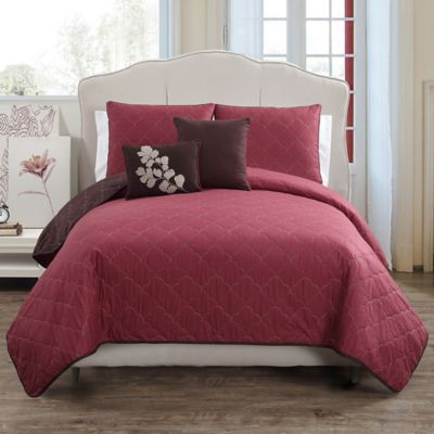 Asher Reversible Full/Queen Quilt Set in Red/Chocolate