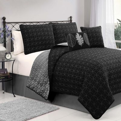Hayden 5-Piece Reversible Queen Quilt Set in Plum/Grey