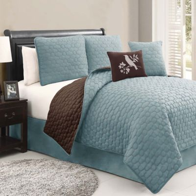 Stockton 5-Piece Reversible Queen Quilt Set in Blue/Brown