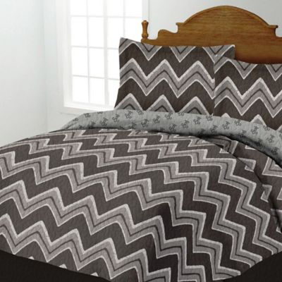 Zig-Zag Twin Quilt Set in Blue/White