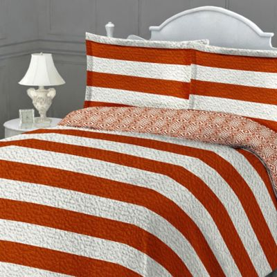 St. Tropez Reversible Twin Quilt Set in Orange