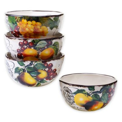 Certified International Botanical Fruit Ice Cream Bowls (Set of 4)