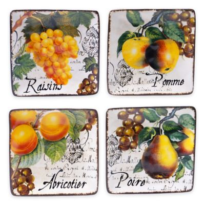 Certified International Botanical Fruit Canapé Plates (Set of 4)