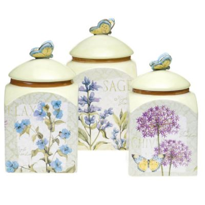 Certified International Herb Garden 3-Piece Canister Set