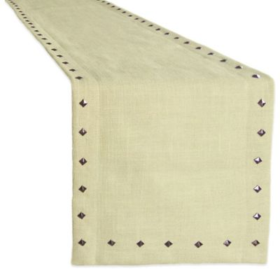 Monroe Studded 90-Inch Woven and Crafted Runner in Ivory