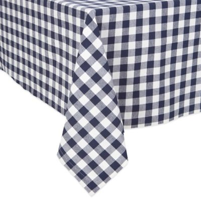 Buffalo Check 52-Inch Square Tablecloth in Navy