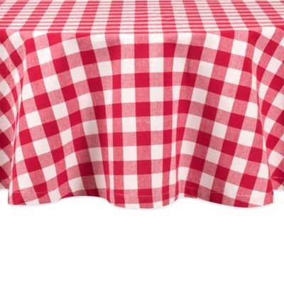 Buffalo Check 60-Inch Round Tablecloth in Cherry