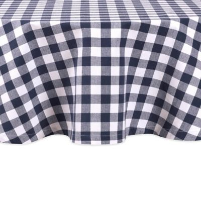 Buffalo Check 60-Inch Round Tablecloth in Navy