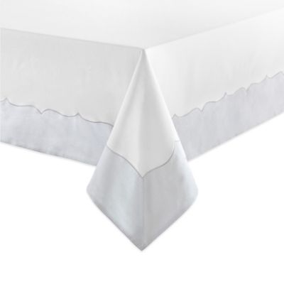 Waterford® Linens Cassia 70-Inch x 104-Inch Oblong Tablecloth in White/Blue
