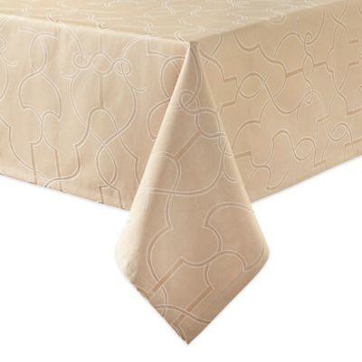 Waterford® Linens Marilla 52-Inch x 70-Inch Oblong Tablecloth in Almond