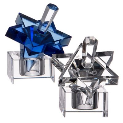 Star of David Hanukkah Blue Crystal Dreidel