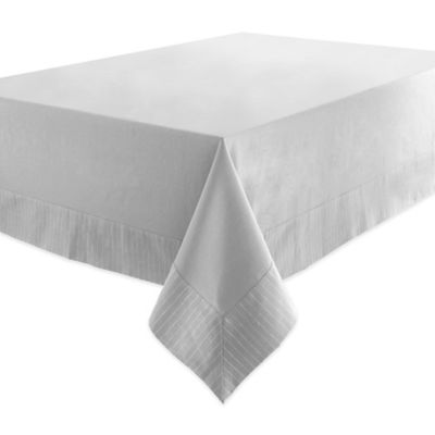 Waterford® Linens Rigato 70-Inch x 144-Inch Oblong Tablecloth in Platinum