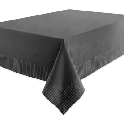 Waterford® Linens Rigato 70-Inch x 144-Inch Oblong Tablecloth in Charcoal