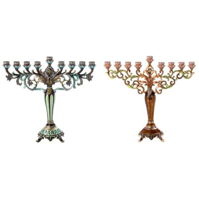 Jeweled and Enamel Hanukkah Menorah in Bronze