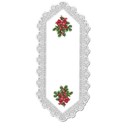 Heritage Lace® Boughs of Holly 44-Inch Table Runner in White