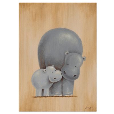 Oopsy Daisy Safari Kisses Hippos Canvas Wall Art