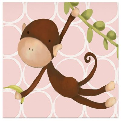 Oopsy Daisy Hanging Monkey Canvas Wall Art in Pink