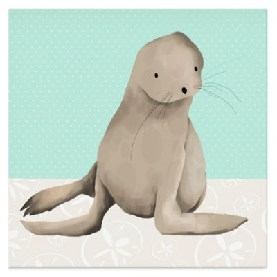 Oopsy Daisy Sam the Sea Lion Canvas Wall Art in Aqua