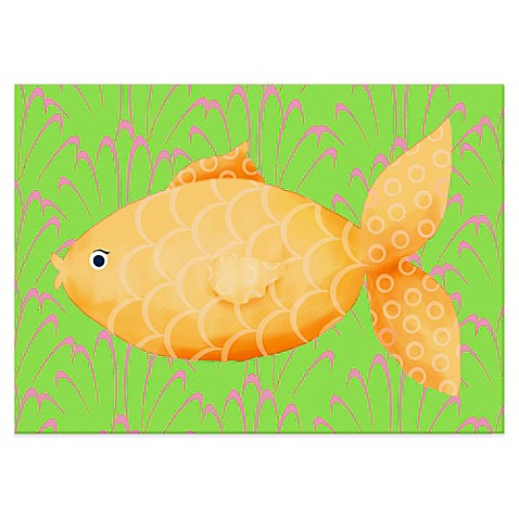 Oopsy daisy mia the fish canvas wall art in yellow orange for Closest fish store