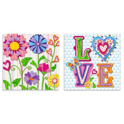 Oopsy Daisy Too Hearts and Flowers 2-Piece Canvas Wall Art