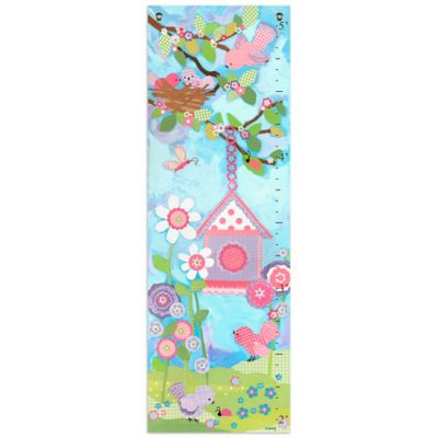 Oopsy Daisy Too Aqua Flower Growth Chart Canvas Wall Art