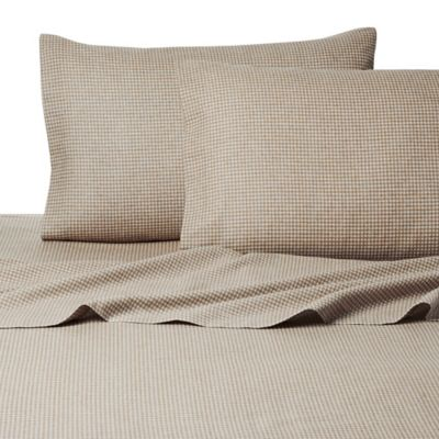 Belle Epoque La Rochelle Collection Gingham Heathered Flannel Twin Sheet Set in Tan