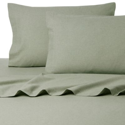 Belle Epoque La Rochelle Collection Sol Heathered Flannel Twin Sheet Set in Green