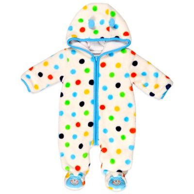 Absorba® Size 3-6M Fuzzy Polka Dot Bear Footie in Blue