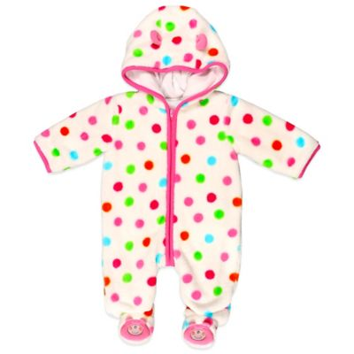 Absorba® Size 0-3M Fuzzy Polka Dot Bear Footie in Pink