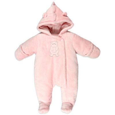 Absorba® Size 0-3M Fuzzy Plush Bear Snowsuit in Pink