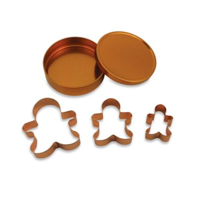 3-Piece Copper Plated Gingerbread Man Cookie Cutter Set