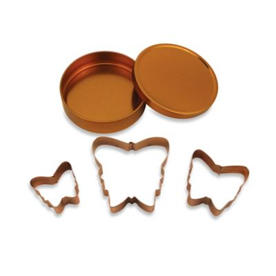 3-Piece Copper Plated Butterfly Cookie Cutter Set