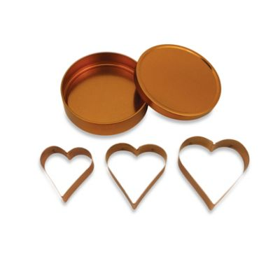 3-Piece Copper Plated Heart Cookie Cutter Set