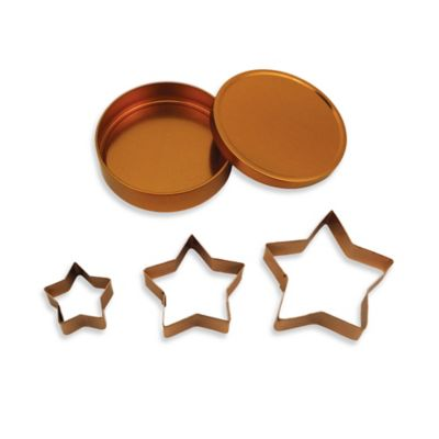 3-Piece Copper Plated Star Cookie Cutter Set