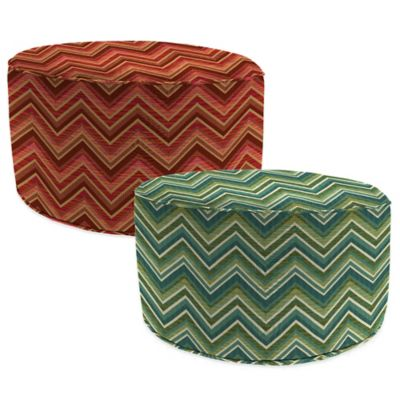 Outdoor Round Pouf Ottoman in Sunbrella® Fischer Sunset