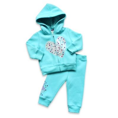 Planet Cotton® Size 9M 2-Piece Glitter Heart Hoodie and Pant Set in Aqua