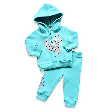 Cotton^ Size 3M 2-Piece Glitter Heart Hoodie and Pant Set in Aqua