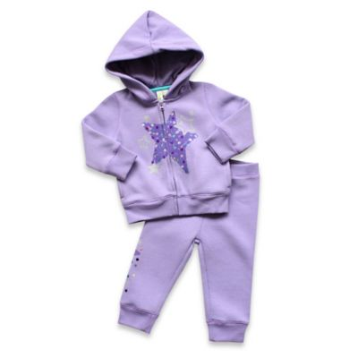 Planet Cotton® Size 3M 2-Piece Glitter Star Hoodie and Pant Set in Purple