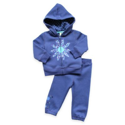 Planet Cotton® Size 3M 2-Piece Glitter Flower Hoodie and Pant Set in Blue